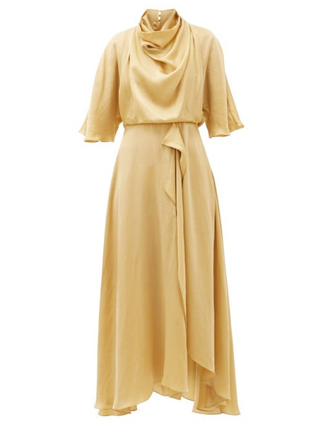 Roksanda - Senja Draped Faille Midi Dress - Womens - Gold