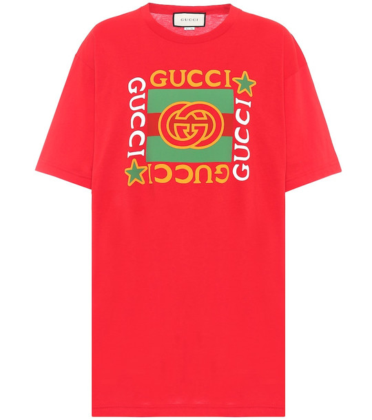Gucci Logo cotton T-shirt in red