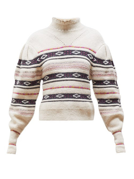 Isabel Marant - Conley High Neck Striped Sweater - Womens - Ivory Multi