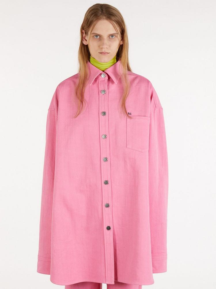 RAF SIMONS Oversize Cotton Denim Long Shirt in pink
