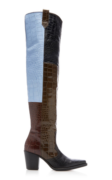 Ganni Paneled Croc-Effect Leather Over-The-Knee Boots Size: 39 in black