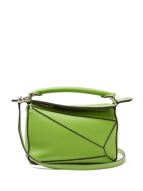 Loewe - Puzzle Mini Grained Leather Cross Body Bag - Womens - Green