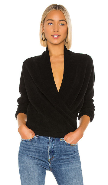 Vince Wrap Front Pullover in Black