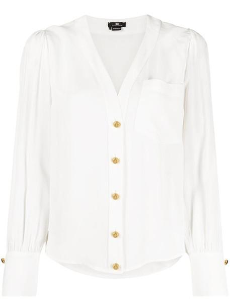 Elisabetta Franchi V-neck long-sleeve blouse in white