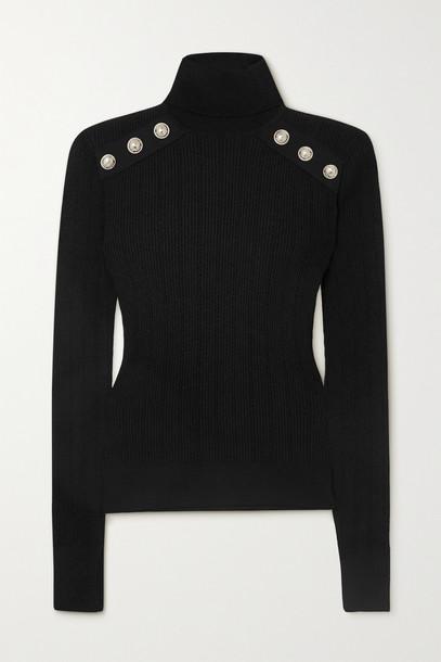 BALMAIN - Button-embellished Ribbed-knit Turtleneck Sweater - Black