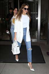top,white top,spring outfits,white blazer,blazer,white,jessica alba,jeans,pumps