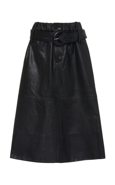 Proenza Schouler White Label Belted Leather Midi Skirt in black