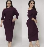 dress,plus size,burgundy dress,long sleeves,long dress