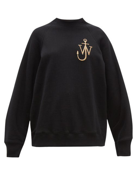 Jw Anderson - Logo Embroidered Split Sleeved Cotton Sweatshirt - Womens - Black