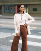 pants,wide-leg pants,high waisted pants,h&m,white shirt,blazer,classy