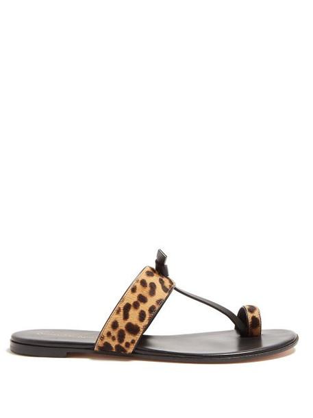 Gianvito Rossi - Leopard Print Calf Hair Sandals - Womens - Leopard