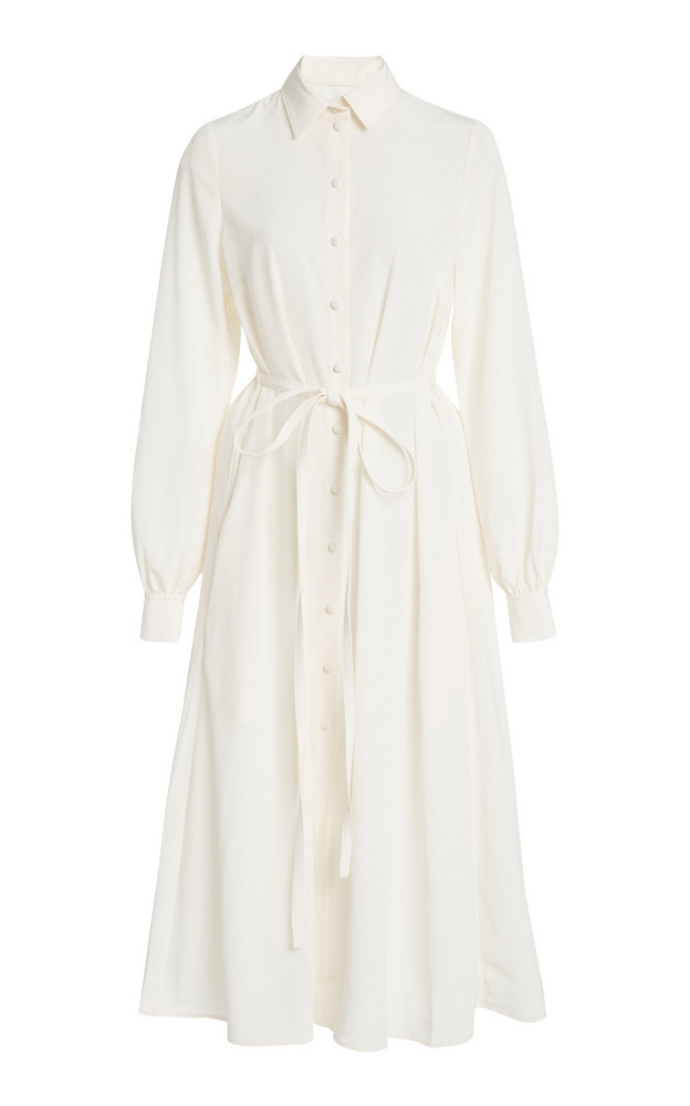 Co Japanese Stretch Crepe Belted Shirt Dress in white