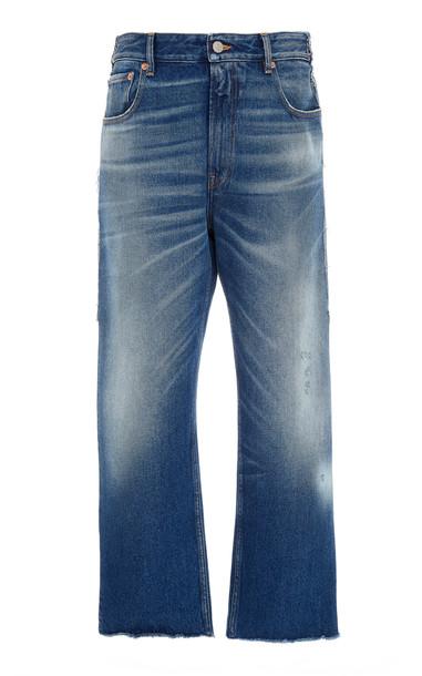 MM6 Diy Patchwork Rigid High-Rise Cropped Boyfriend Jeans in blue