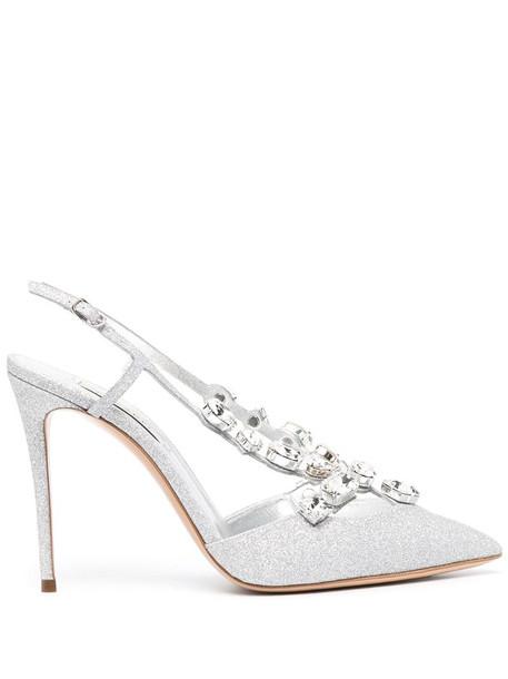 Casadei crystal-detail glitter pumps in silver
