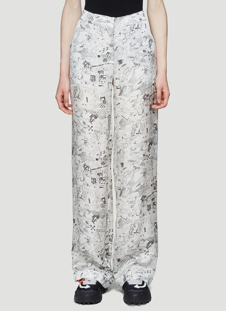 Off-White Printed Wide-Leg Pants in White size IT - 42