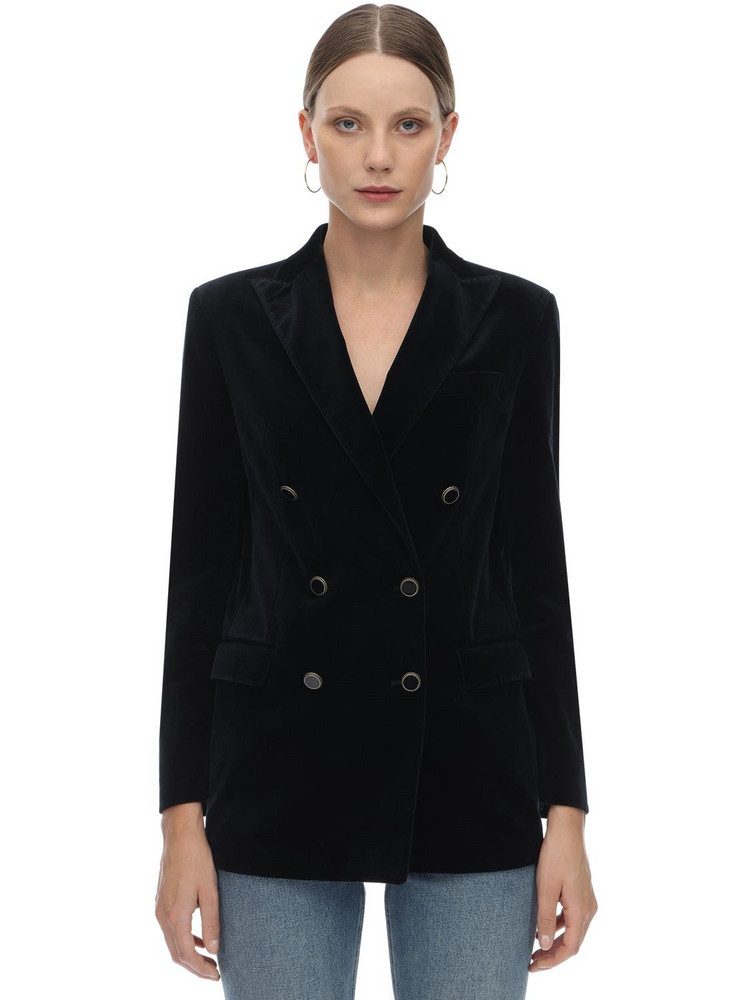 TAGLIATORE Jasmine Oversize Stretch Velvet Jacket in blue