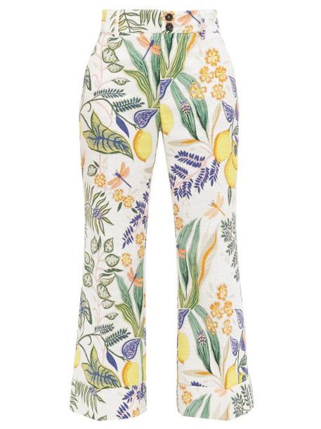 La DoubleJ - Hendrix Botanical-print Cropped Trousers - Womens - White Print