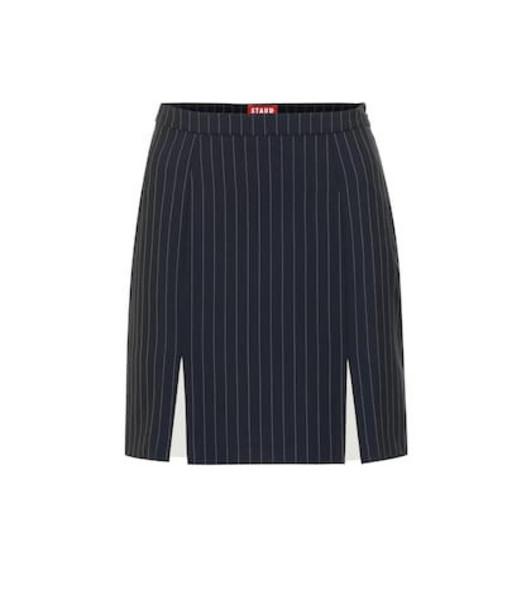 Staud Liv striped crêpe skirt in blue