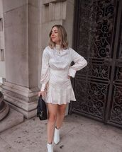 dress,mini dress,long sleeve dress,ankle boots,white boots,black bag