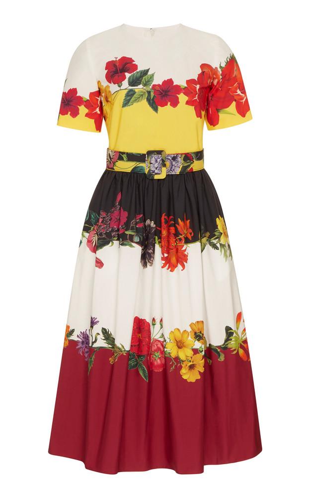 Oscar de la Renta Floral-Print Stretch-Cotton Dress in white