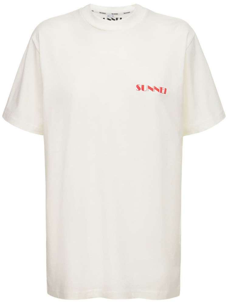 SUNNEI Logo Cotton Jersey T-shirt in red / white