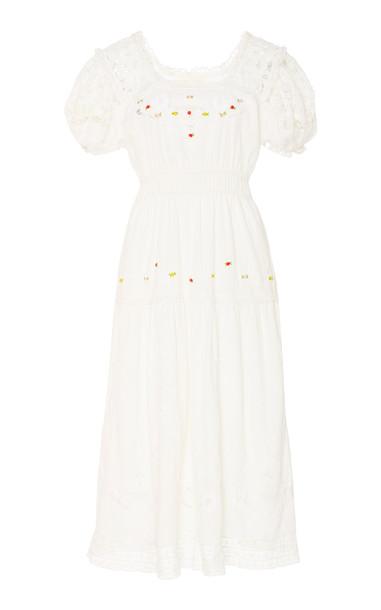 LoveShackFancy Ayden Cotton Floral Motif Midi Dress Size: P in white