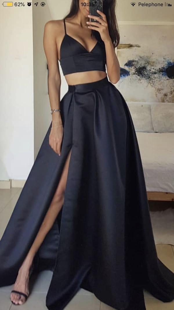 dress black black dress set two piece dress set