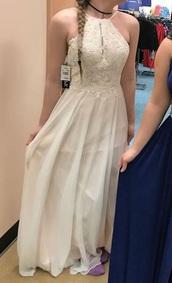 dress,blush white/pink,from dillard's or macy's,sleeveless dress,lace dress,halter dress