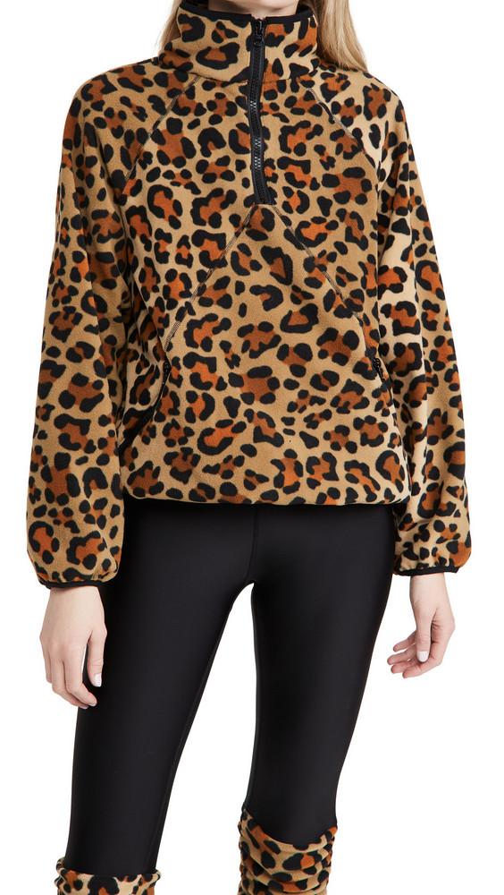 Terez Zip Fleece Pullover in leopard