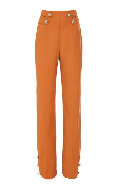 Oscar de la Renta High-Waisted Wool-Blend Straight-Leg Pants in orange