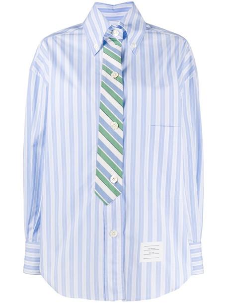 Thom Browne tie effect cotton stripe shirt in blue