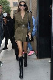 jacket,olive green,khaki,skirt,mini skirt,military style,kaia gerber,model off-duty,fall outfits,boots