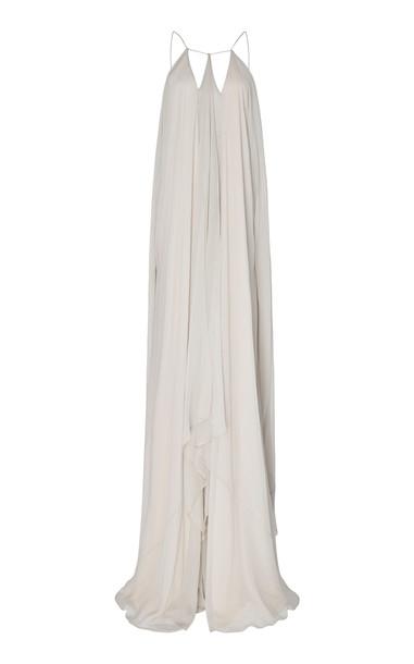 Zac Posen Draped Silk Maxi Dress Size: 0 in grey