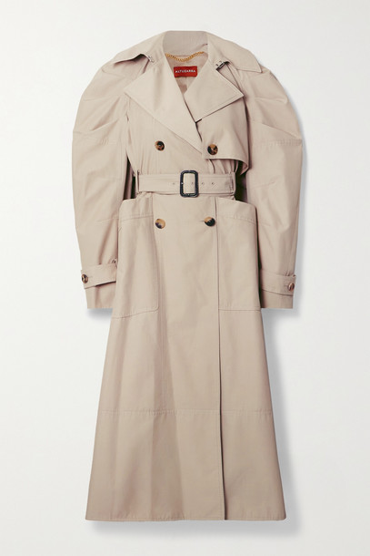 ALTUZARRA - Ambretta Belted Double-breasted Cotton-blend Trench Coat - Neutrals