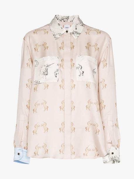 Burberry alexa dancing unicorn print silk shirt