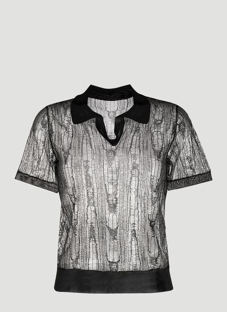 Maison Margiela Sheer Polo Shirt in Black size L