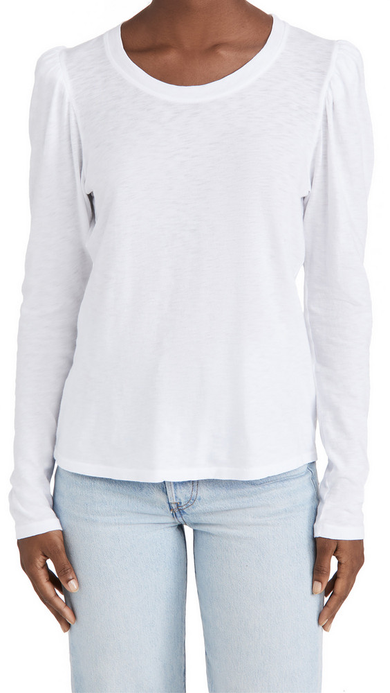 SUNDRY Puff Shoulder Long Sleeve Tee in white