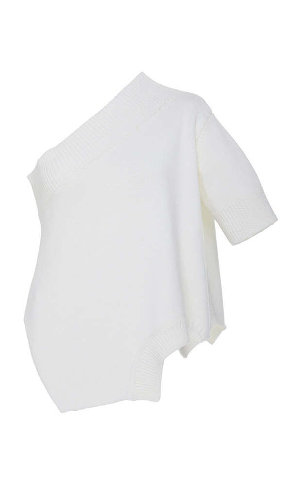MONSE Asymmetric One-Shoulder Ribbed-Knit Top in white