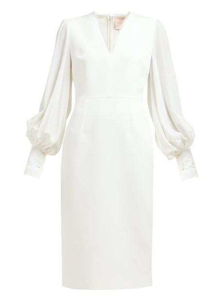 Roksanda - Essi Bell Sleeve Crepe Midi Dress - Womens - Ivory