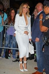 skirt,all white everything,jennifer lopez,celebrity,midi skirt,blazer,top