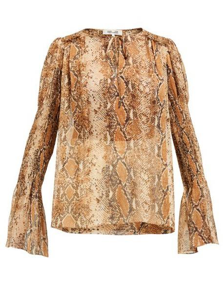 Diane Von Furstenberg - Rohini Python Print Silk Blouse - Womens - Brown Print
