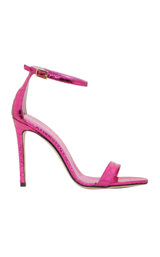 Paris Texas Nudist Python-Effect Leather Sandals in pink