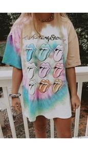 shirt,tie dye,baggy shirt,rolling stones t shirt