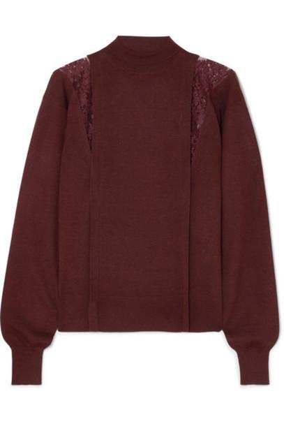 Chloé Chloé - Lace-paneled Wool And Silk-blend Turtleneck Sweater - Burgundy