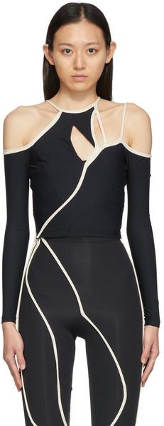 Ottolinger Nylon Strappy Long Sleeve T-Shirt in black