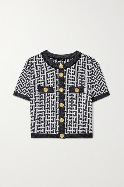 BALMAIN - Button-embellished Metallic Jacquard-knit Cardigan - White