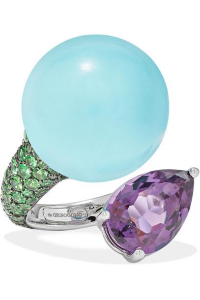 de GRISOGONO - Boule 18-karat White Gold Multi-stone Ring