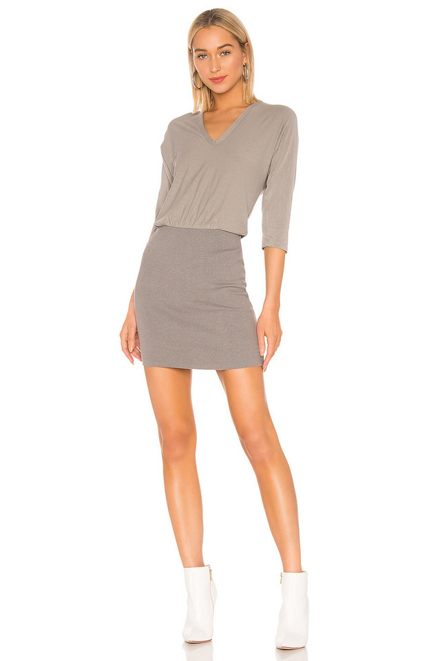 James Perse Mixed Media Blouson Dress in gray