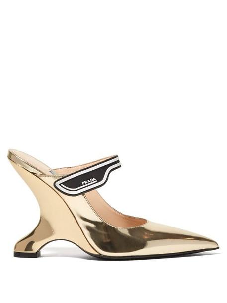 Prada - Logo Strap Leather Mary Jane Mules - Womens - Gold