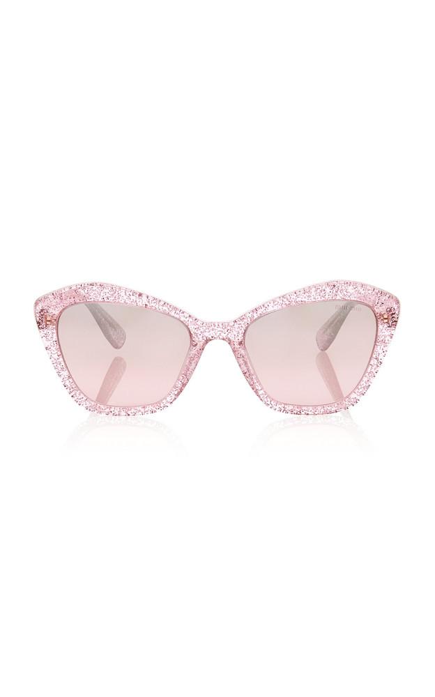 Miu Miu Glitter Cat-Eye Sunglasses in pink